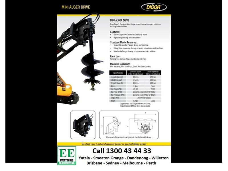 digga digga mini loader auger drive standard model 2 way (single swing) 385617 002
