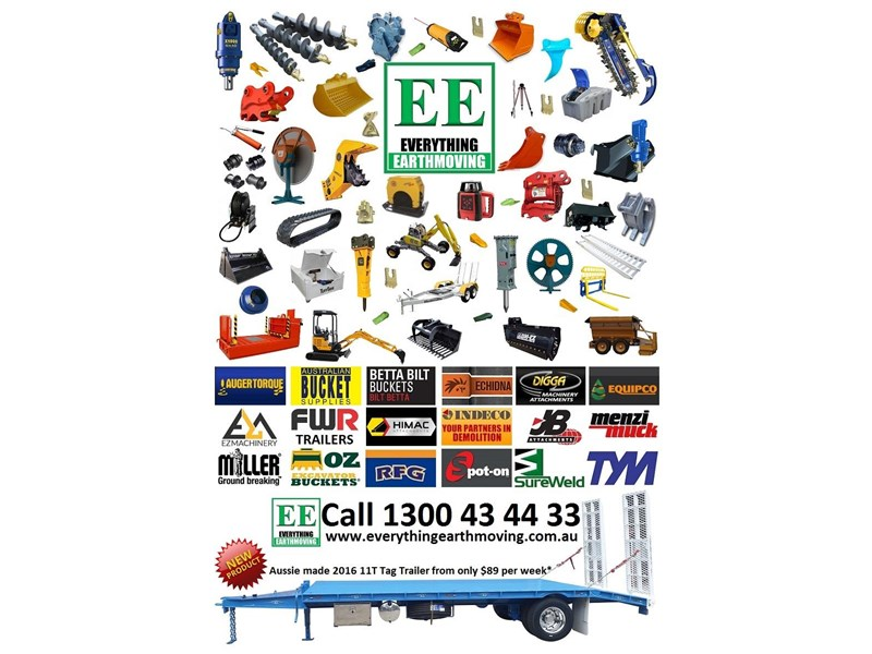 everything earthmoving 11t atm single axle tag trailer with beaver tail 357093 050