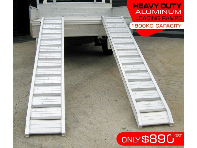 rhino 1800.kg aluminium loading ramps - kanga / dingo / bobcat / skid steer loading ramps [attramp] 394515 002