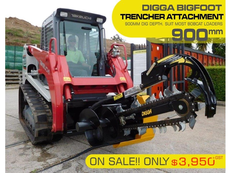 digga bigfoot 900 hydraulic trencher - 900mm dig depth suit skid steer loaders.[atttren] 384563 002