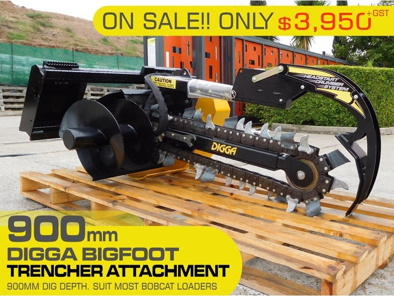 digga bigfoot 900 hydraulic trencher - 900mm dig depth suit skid steer loaders.[atttren] 384563 001