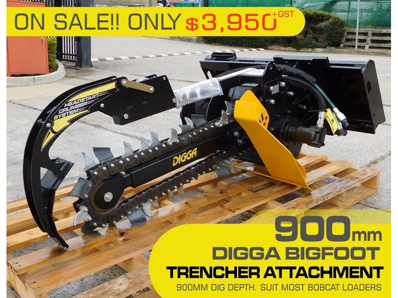 digga bigfoot 900 hydraulic trencher - 900mm dig depth suit skid steer loaders.[atttren] 384563 003