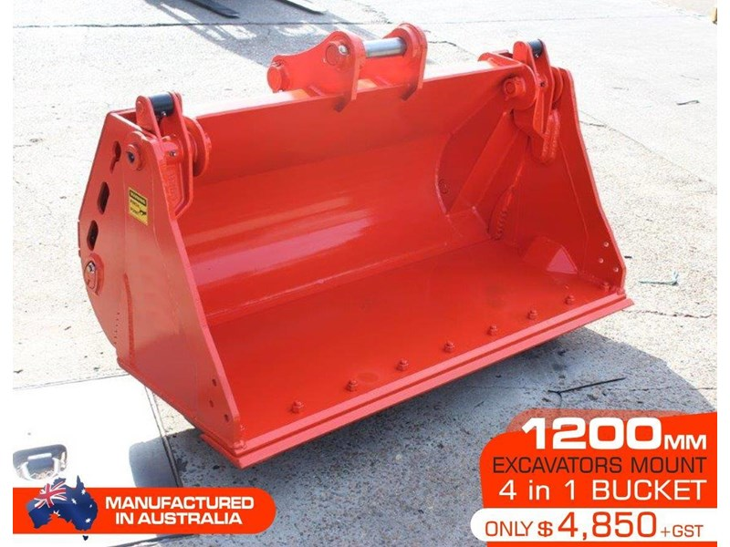 yanmar 4 in 1 bucket to suit 5 to 8 ton kubota bobcat yanmar excavators [1200 mm] [attbuck] 415064 001