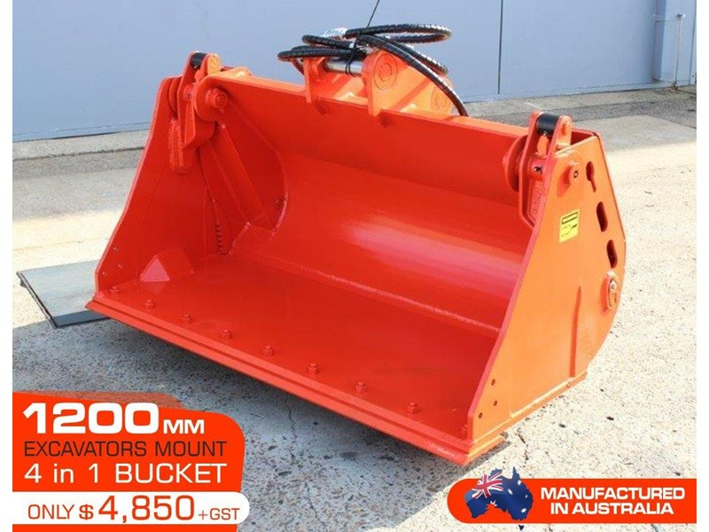 yanmar 4 in 1 bucket to suit 5 to 8 ton kubota bobcat yanmar excavators [1200 mm] [attbuck] 415064 002
