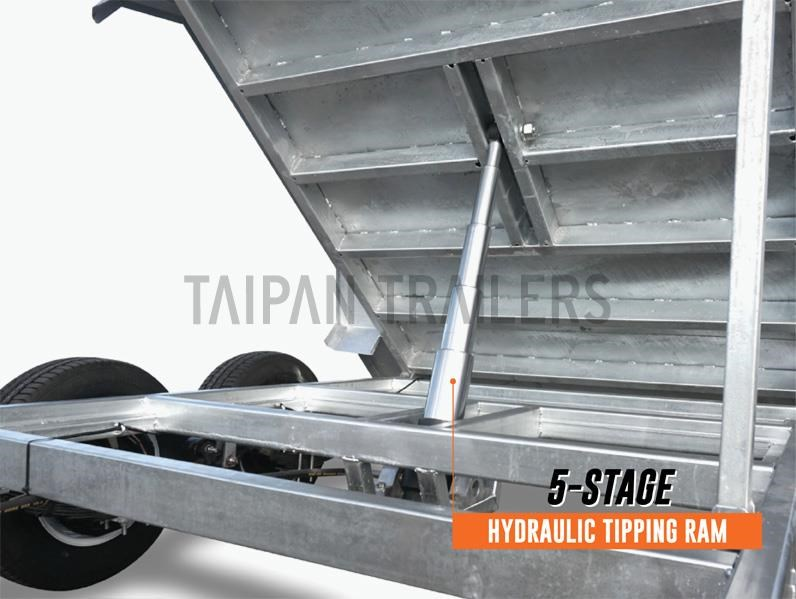 taipan 10×5 tandem axel flat top hydraulic tipper trailer 424395 006
