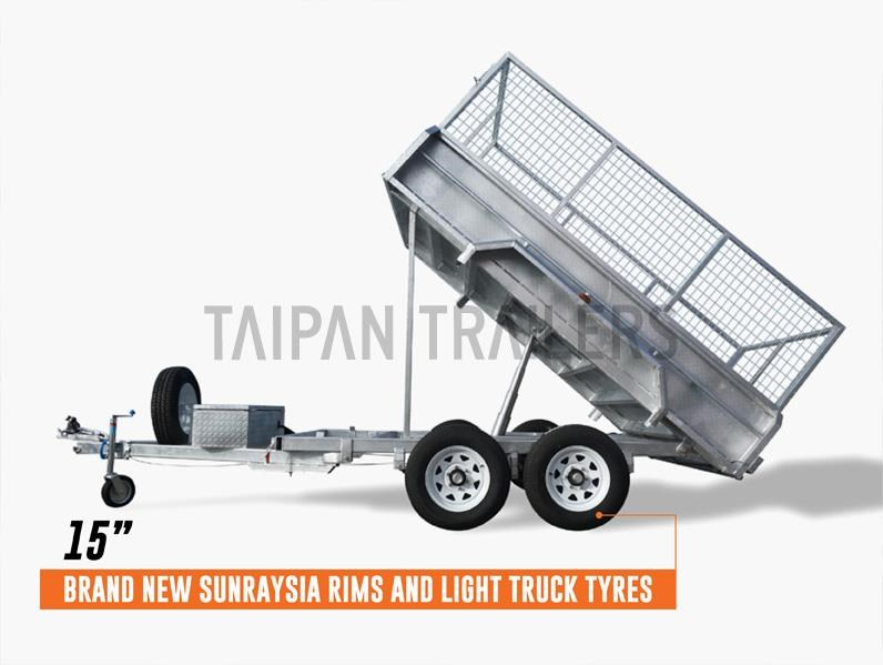 taipan 10×5 tandem axel flat top hydraulic tipper trailer 424395 013