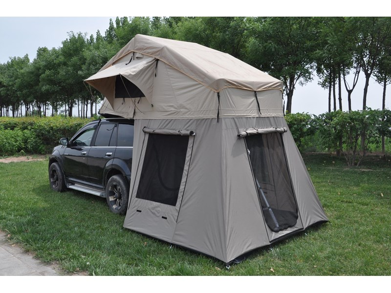 kylin campers 4-person canvas roof top tent + tent room 425378 005
