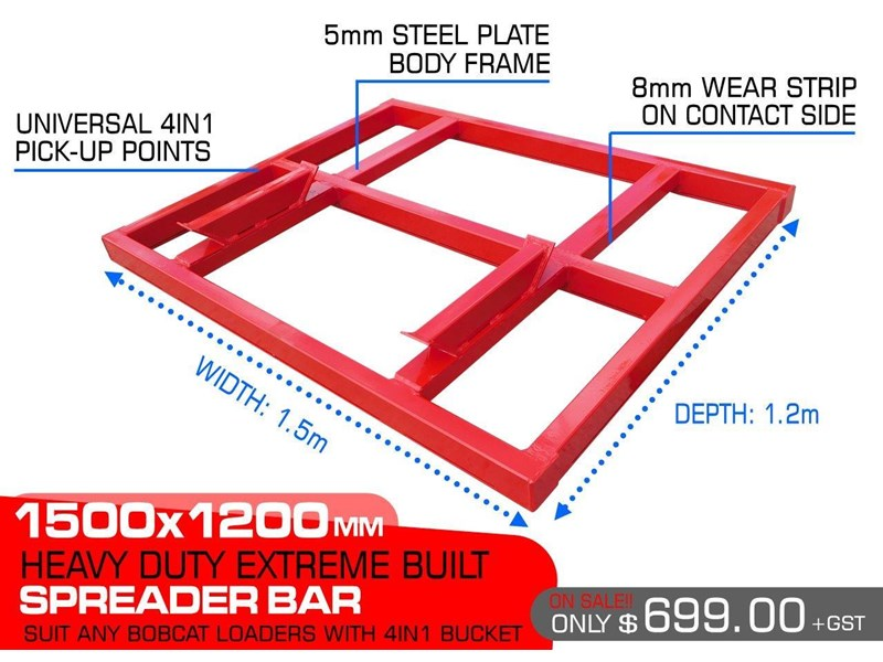 other heavy duty extreme built 1500 mm width levelling bars attachments [attbars] / 1500mm x 1200mm spreader bars 427771 001