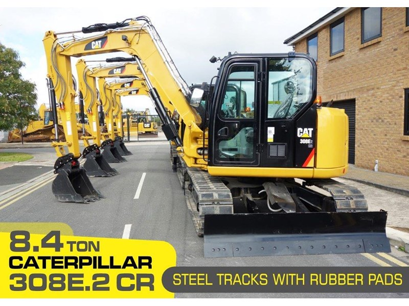 caterpillar #308einc04 308e2.cr 8.4 ton cat 308.e2 steel tracks excavator fitted with rubber pads [unused 7.2 hrs] [machexc] 430252 001