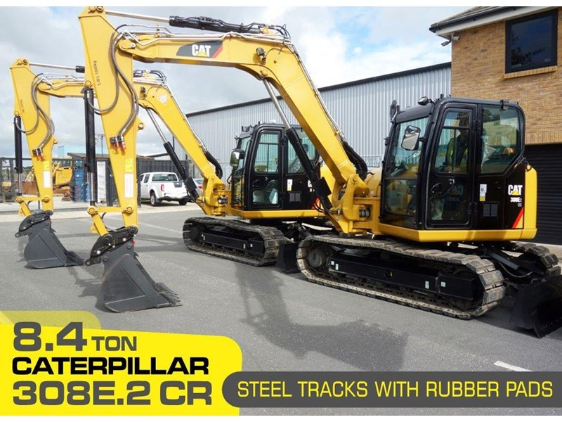 caterpillar #308einc05 308e2.cr 8.4 ton cat 308.e2 steel tracks excavator fitted with rubber pads [unused 8.8 hrs] [machexc] 430253 001