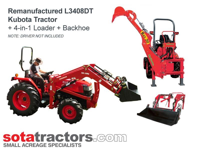 kubota l3408dt tractor + 4 in 1 loader + backhoe 646110 001