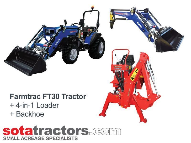 farmtrac 28hp tractor + 4 in 1 loader + backhoe 646140 001