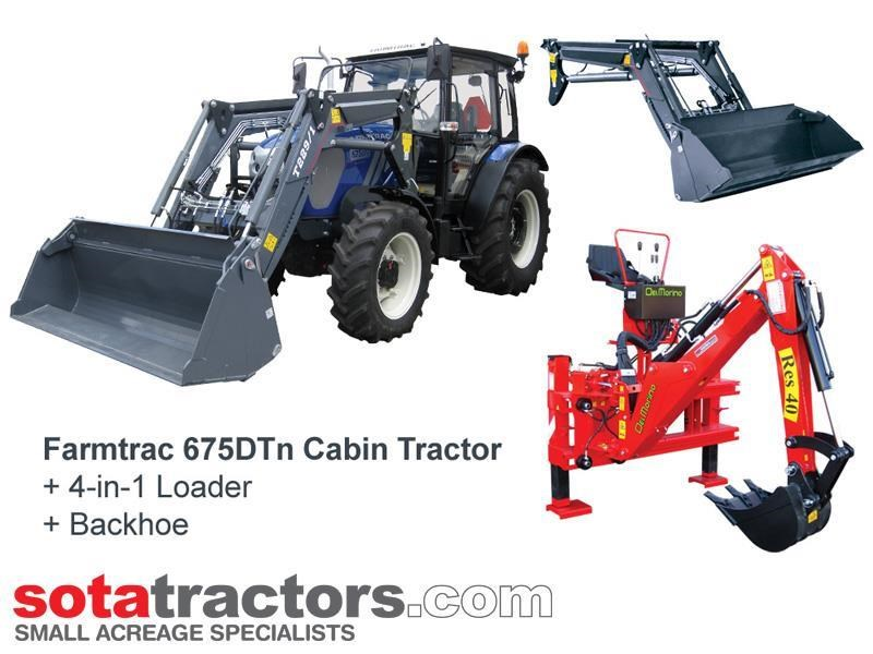 farmtrac 75hp cab tractor + 4 in 1 loader + backhoe 646202 001