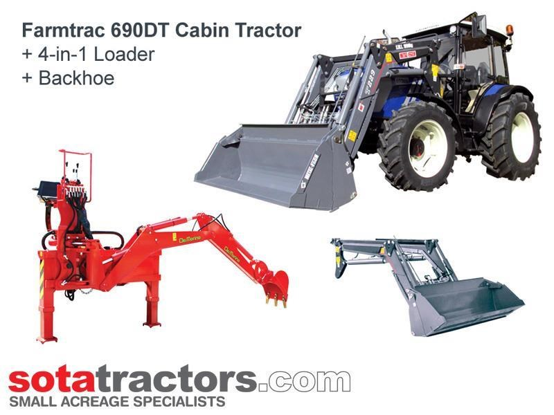farmtrac 90hp cab tractor + 4 in 1 loader + backhoe 646220 001