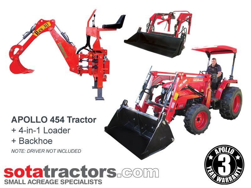 apollo 45hp tractor + 4 in 1 loader + backhoe 646460 001