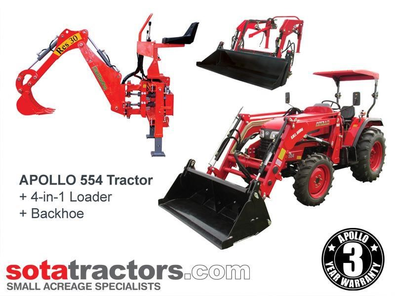apollo 55hp tractor + 4 in 1 loader + backhoe 646442 001