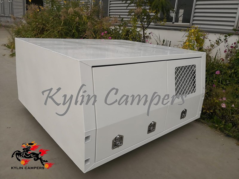 kylin campers jack off white powder coated alloy canopy with dog box, no  back door
