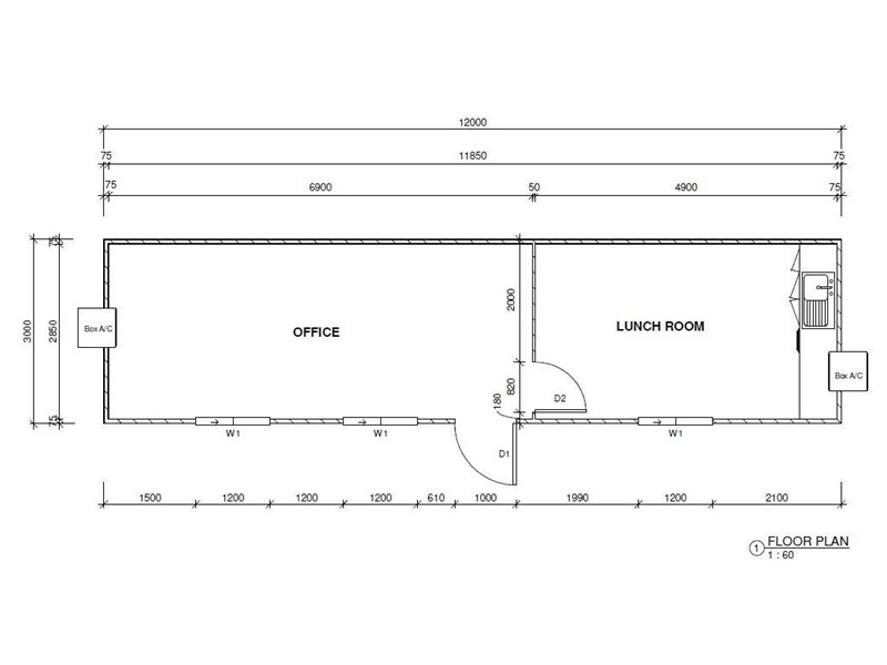 mcgregor 12.0m x 3.0m eco site office & lunchroom 670560 004