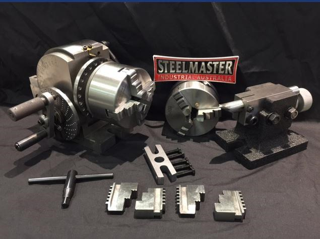 steelmaster semi universal dividing head bs-0-4c, comes with 3 & 4 jaw 100mm dia. chucks 701618 001