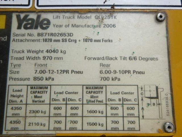 2006 YALE GLP025 Yale Forklift GLP25TK for sale