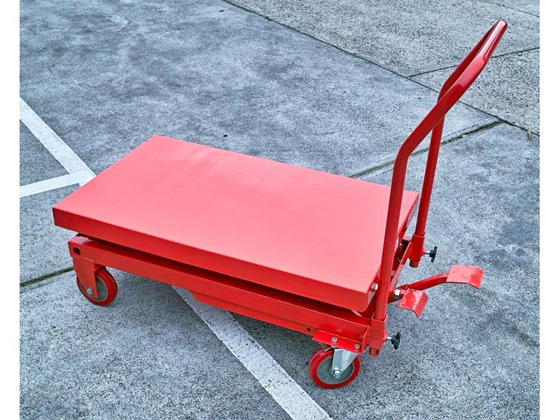 millers falls scissor lift hydraulic table cart trolley 150 kg 1250 mm lifting height 712608 002