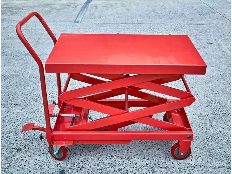 millers falls scissor lift hydraulic table cart trolley 150 kg 1250 mm lifting height 712608 001