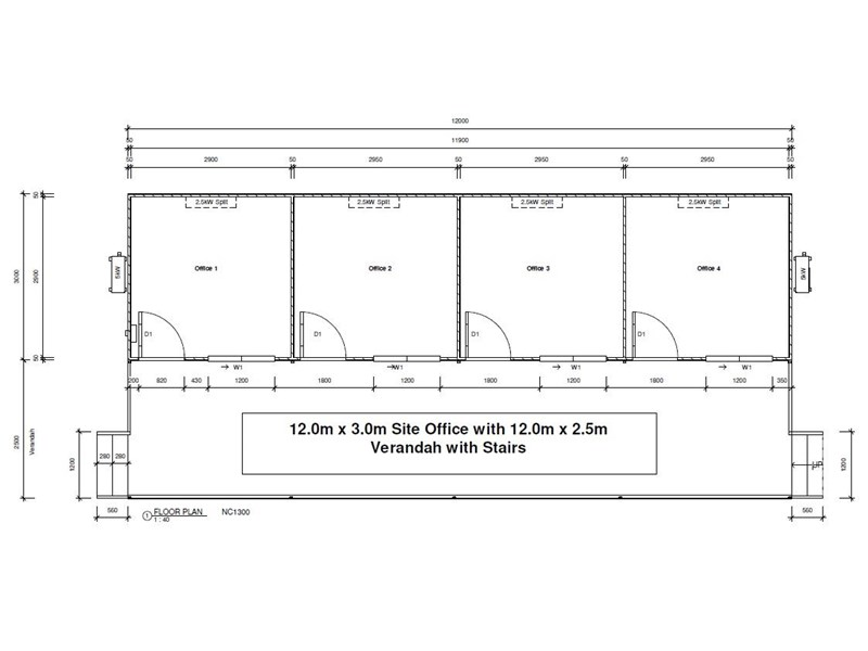 mcgregor 12.0m x 3.0m site office with 2.5m verandah 736652 005