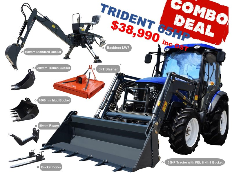 trident 65hp tractor with fel 4in1 bucket 784545 073