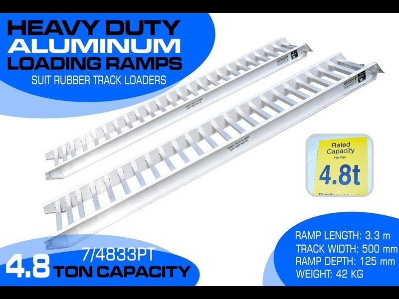 rhino 4.8 ton aluminum loading ramps [500 mm wide] [attramp] 7/4833pt 235619 001