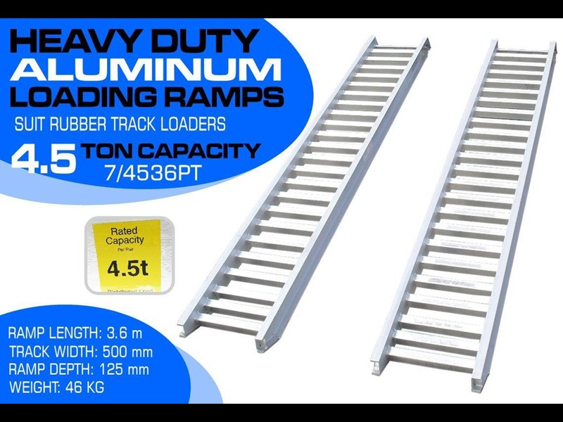 rhino 4.5 ton aluminum loading ramps [500 mm wide] 7/4536pt [attramp] 235640 001