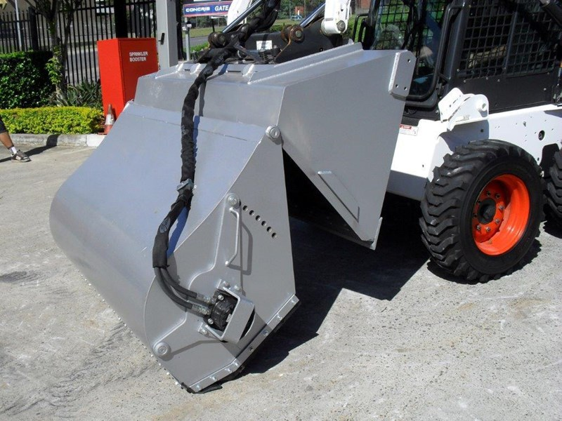 rhino heavy duty - 1600mm enclosed sweeper bucket broom suit bobcat skid steer loaders [attbroom] 236373 005