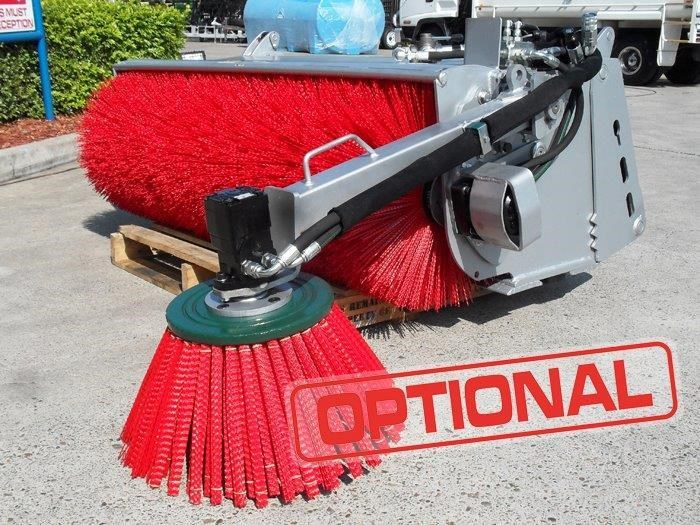 rhino heavy duty broom - 1600 mm open mouth sweeper bucket broom suit skid steer loader [attbroom] 236378 007