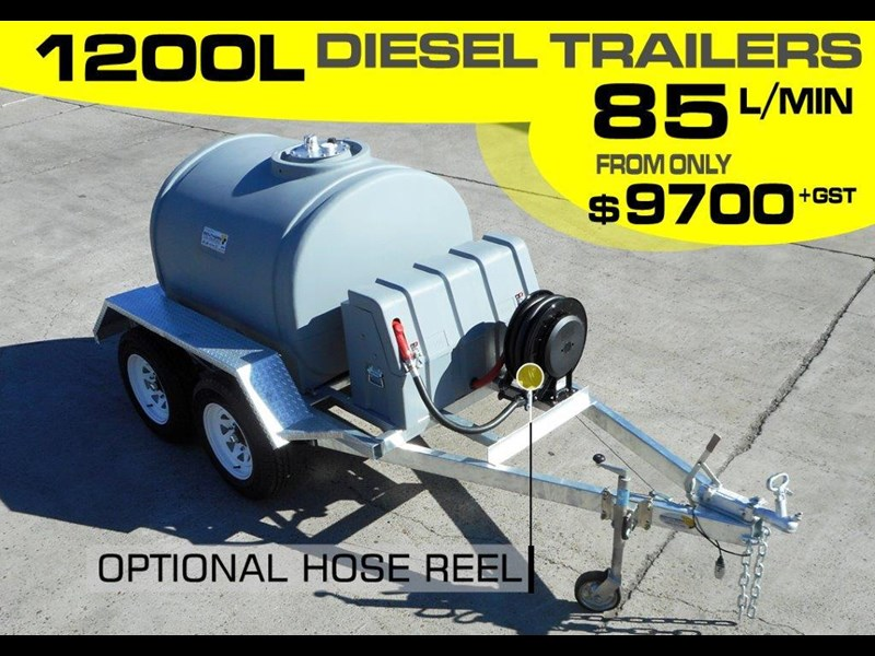 lockable & secure poly 1200l diesel fuel tank trailer with tool box [on road] - 12v 85l diesel pump unit [tfpoly] [attftrail] 243079 003