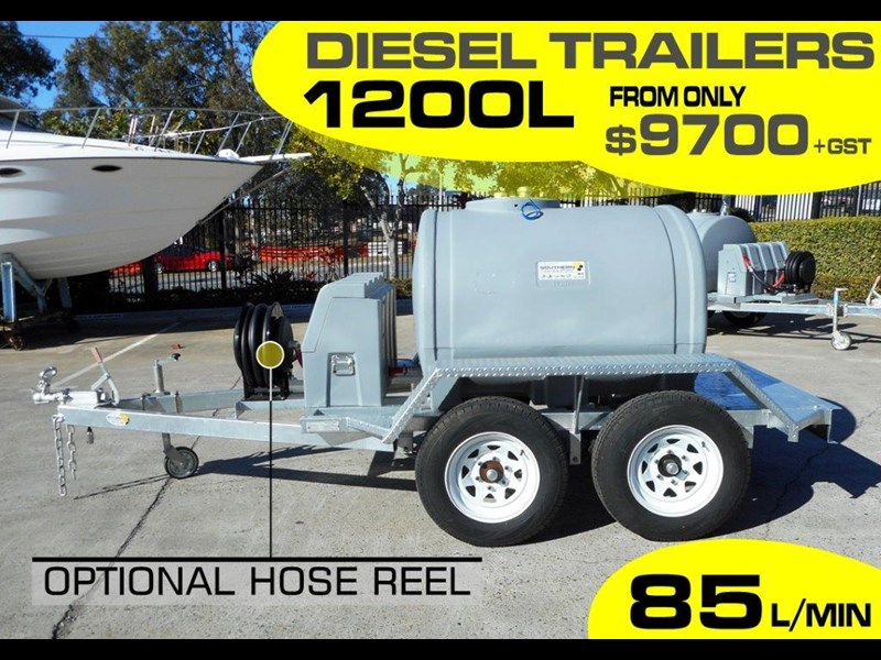 lockable & secure poly 1200l on road diesel cartage fuel trailer with tool box - 12v 85l diesel pump unit [tfpoly] [attftrail] 243078 003