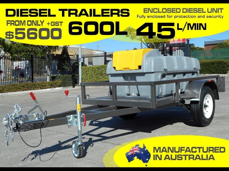 lockable & secure poly diesel fuel trailer [on road] 600l enclosed [tfpoly] [attftrail] 243055 001