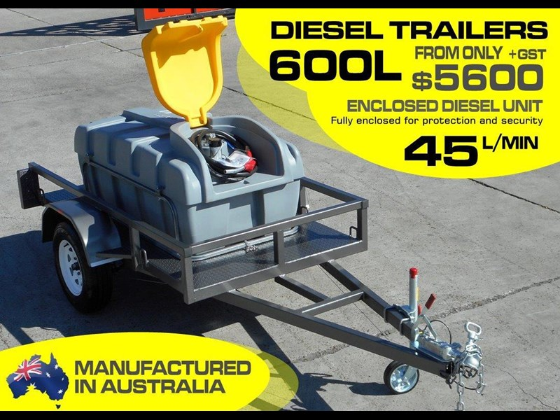 lockable & secure poly diesel fuel trailer [on road] 600l enclosed [tfpoly] [attftrail] 243055 003