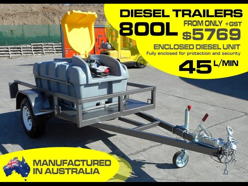 lockable & secure poly diesel fuel trailer 800l enclosed [on road] [tfpoly] [attftrail] 243068 002