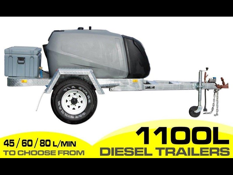 diesel trailer 1100l cartage diesel trailer [on road] fitted with lockable pump box and 10l water tanks. [tfpoly] [attftrail] 243077 001