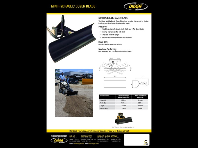 DIGGA MINI HYDRAULIC DOZER BLADE for sale