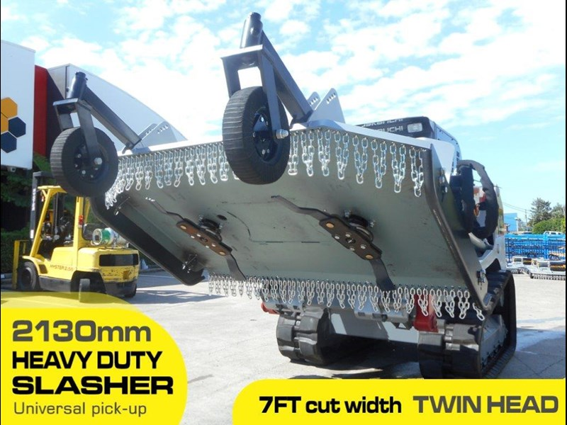 southern tool twin head high flow slasher [7' feet] / 2130mm brush cutter attachment [attslash] - suit excavators / skid steer loader 275290 001