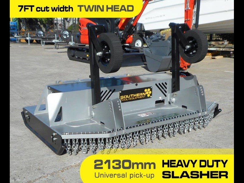 southern tool twin head high flow slasher [7' feet] / 2130mm brush cutter attachment [attslash] - suit excavators / skid steer loader 275290 003