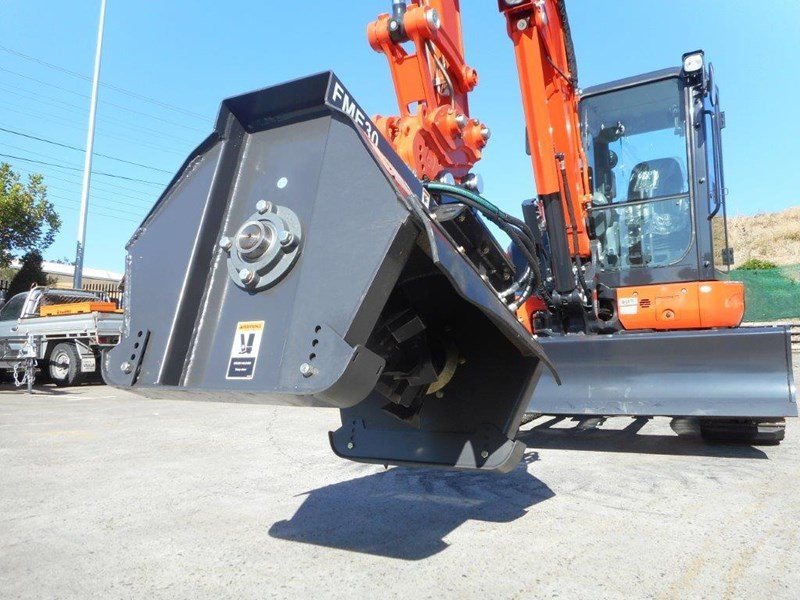 kubota u57 5.5t excavator kx57 kx057 fitted with 724mm flail mower [attslash][attmulch][machkubo] 297376 025