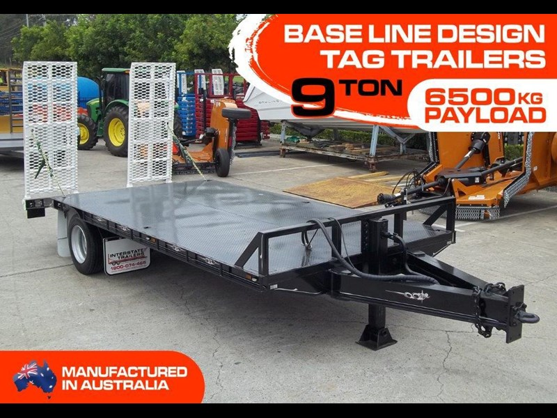 interstate trailers heavy duty 9 ton base line design tag trailers - suit skid steer loaders [attttrail] 344439 001