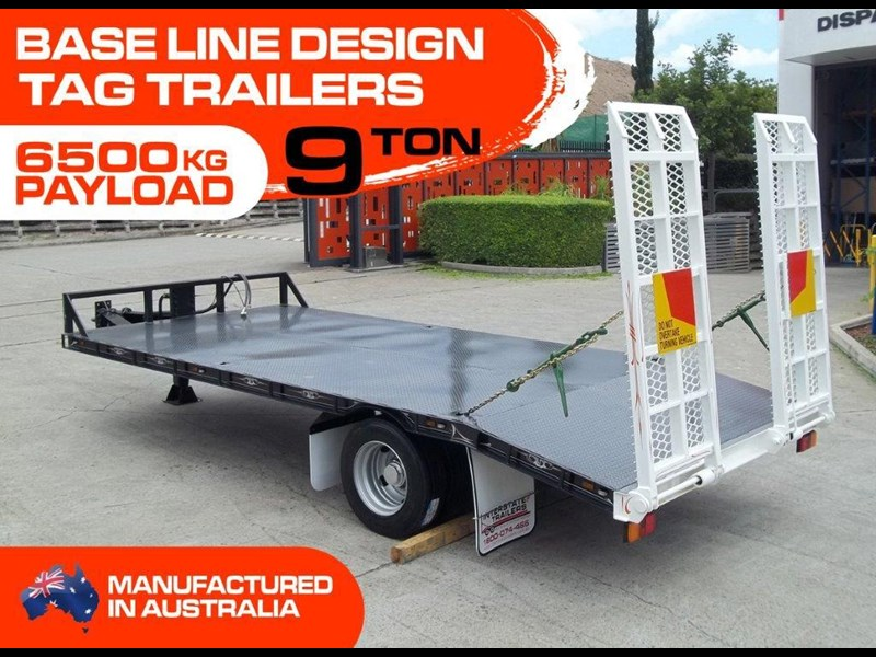 interstate trailers 9 ton base line design tag trailers - suit skid steer loaders / excavator [attttrail] 6.5 ton payload, 2.5 ton tare 344440 002