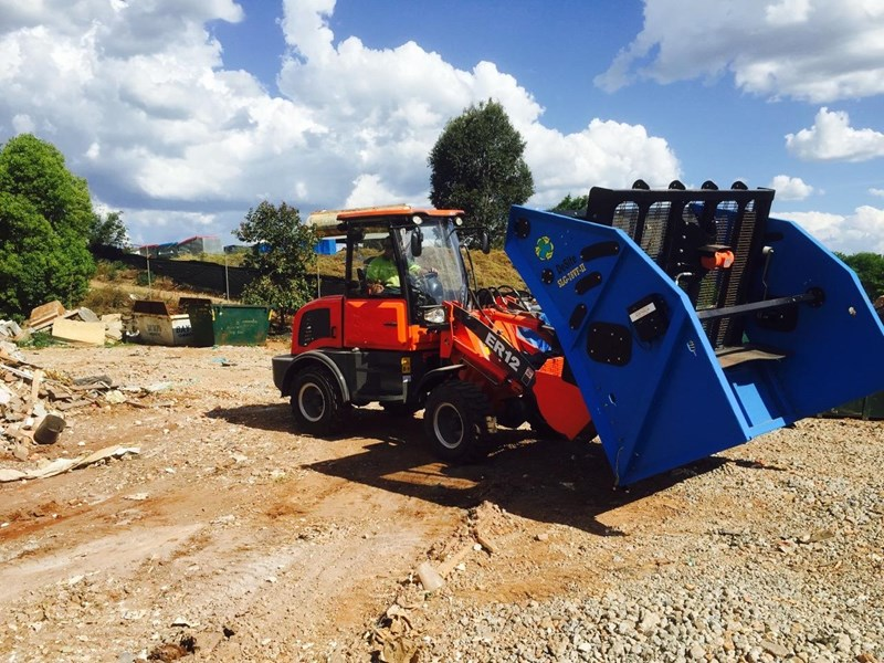 everun er12 wheel loader with 2 buckets and forks 349636 049