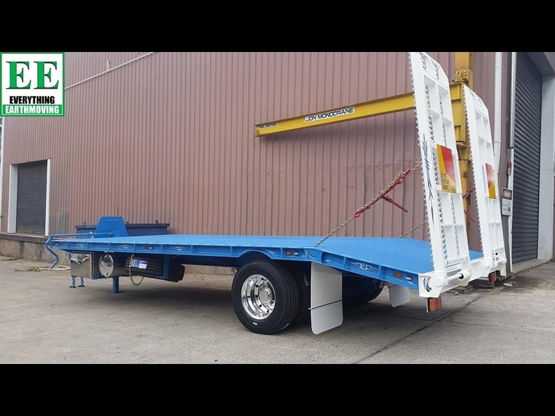 everything earthmoving 11t atm single axle tag trailer with beaver tail 357093 031