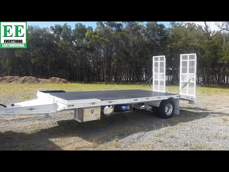 everything earthmoving 11t atm single axle tag trailer with beaver tail 357093 001