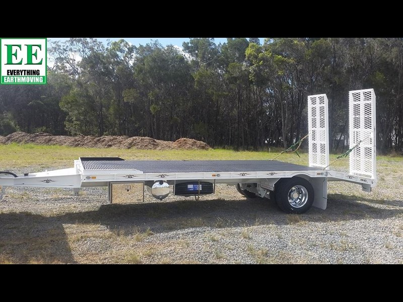 everything earthmoving 11t atm single axle tag trailer with beaver tail 357093 055