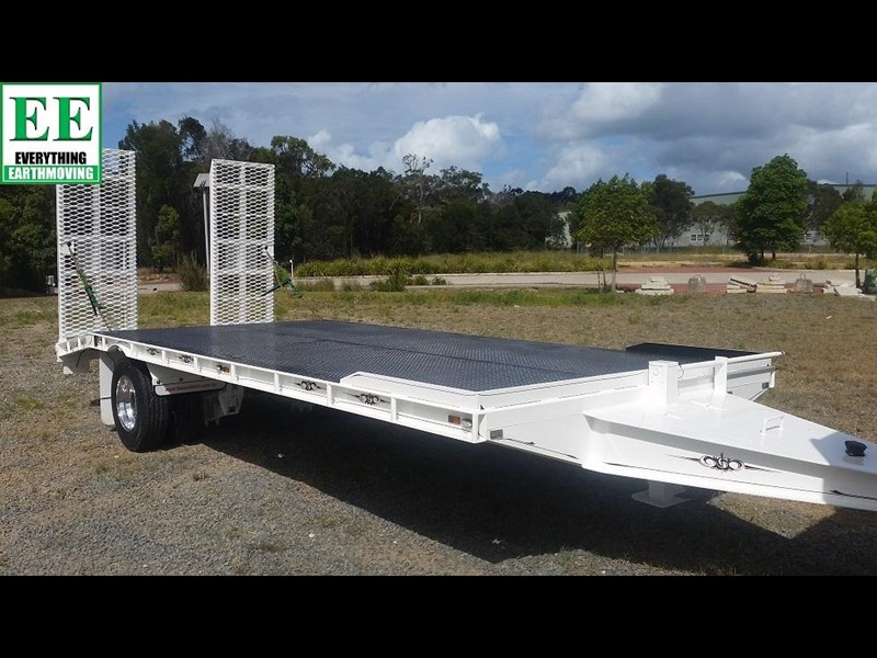 everything earthmoving 11t atm single axle tag trailer with beaver tail 357093 059