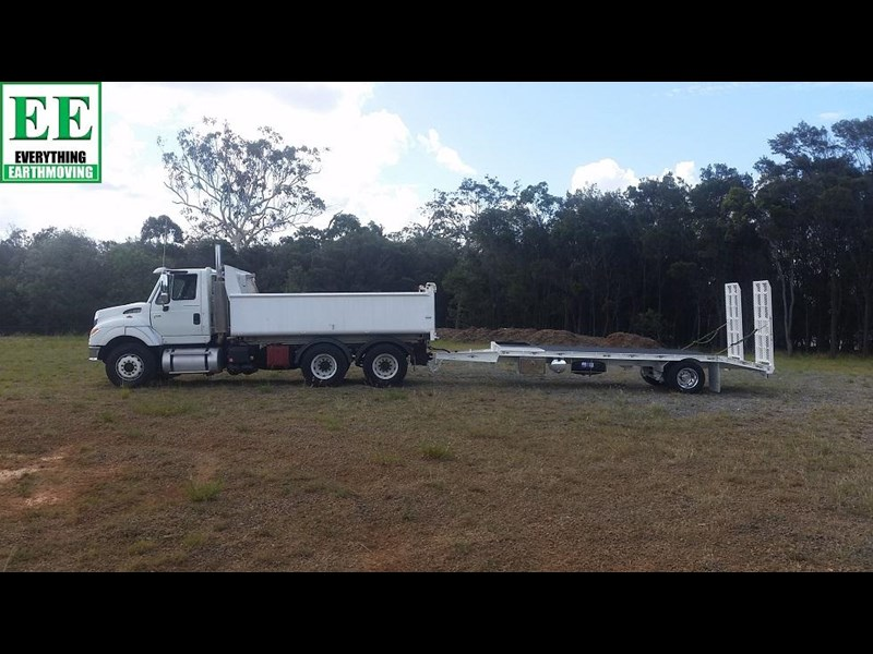 everything earthmoving 11t atm single axle tag trailer with beaver tail 357093 063